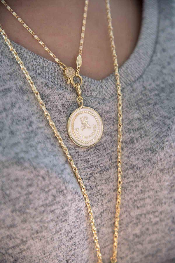 BEE YOURSELF - Beyaz Mineli Madalyon