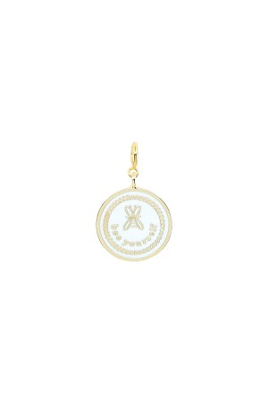 PETIT CHARM - BEE YOURSELF - White Enamel Medal