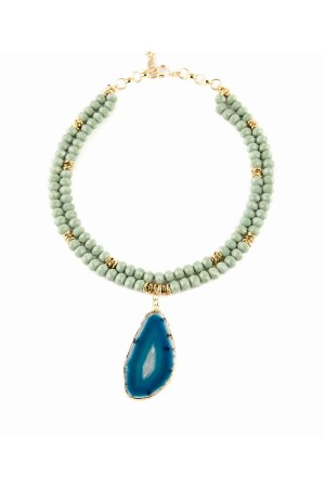 SHOW TIME - BIG BLUE - Agate Necklace