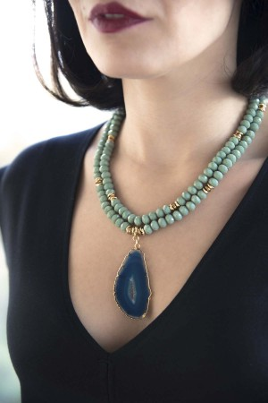 SHOW TIME - BIG BLUE - Agate Necklace (1)