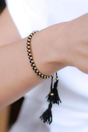 BAZAAR - BLACK BALLS - Sliding Knot Bracelet (1)