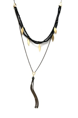 SHOW TIME - BLACK LEAVES - Crystal Beaded Necklace