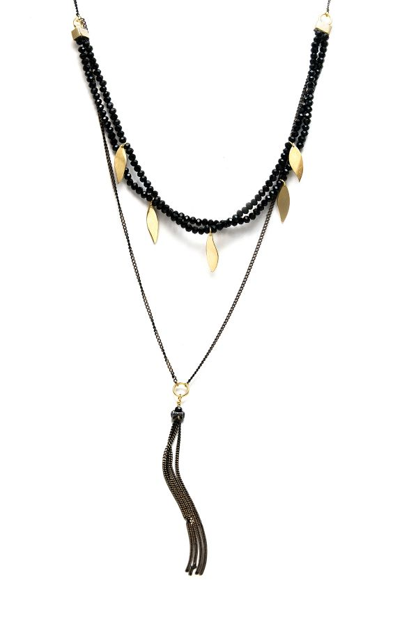 BLACK LEAVES - Crystal Beaded Necklace