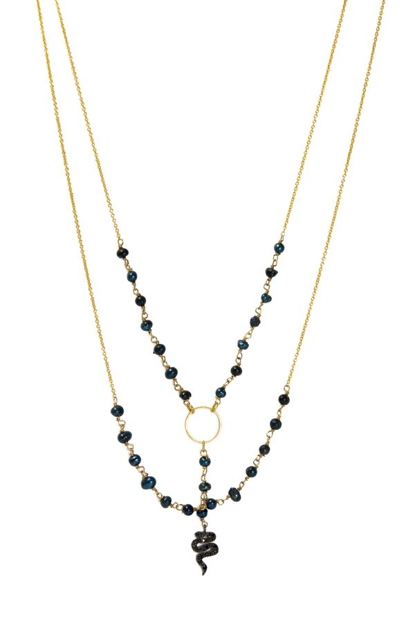 BLACK SNAKE - Rosary Chain Necklace