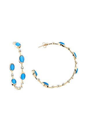 SHOW TIME - BLUE INSPIRATION- Stoned Hoop Earrings