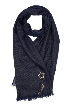 BLUE STARS - Lacivert Simli Yıldız Broşlu Şal - Thumbnail
