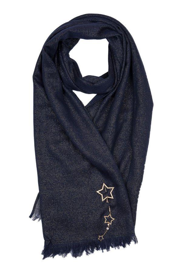 BLUE STARS - Lacivert Simli Yıldız Broşlu Şal