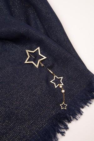 HAPPY SEASONS - BLUE STARS - Lacivert Simli Yıldız Broşlu Şal (1)