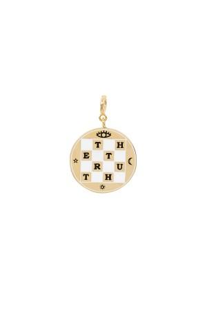 CHECKERBOARD - Dama Detaylı Madalyon Charm - Thumbnail
