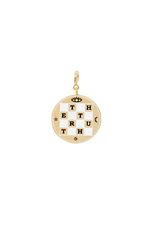 CHECKERBOARD - Dama Detaylı Madalyon Charm