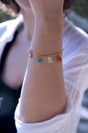 COLOR WHEEL - Multistone Charm Bracelet - Thumbnail