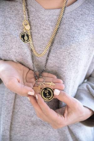 PETIT CHARM - CONQUER - Black Enamel Medal Charm (1)