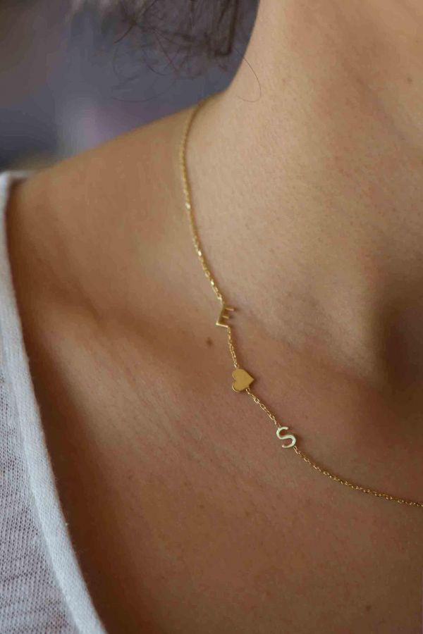 COUPLE - Sideways Two Initials Necklace