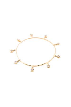 SHOW TIME - DANGLE DIAMOND - Cz Charm Bangle Bracelet