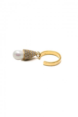 SHOW TIME - DANGLING PEARL - CZ Ring
