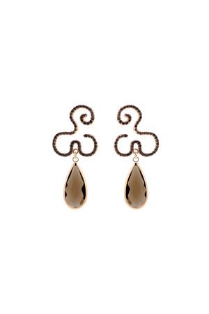 SHOW TIME - DARK FLOW - Brown CZ Earrings