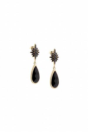 SHOW TIME - DARK STAR - Black CZ Earrings