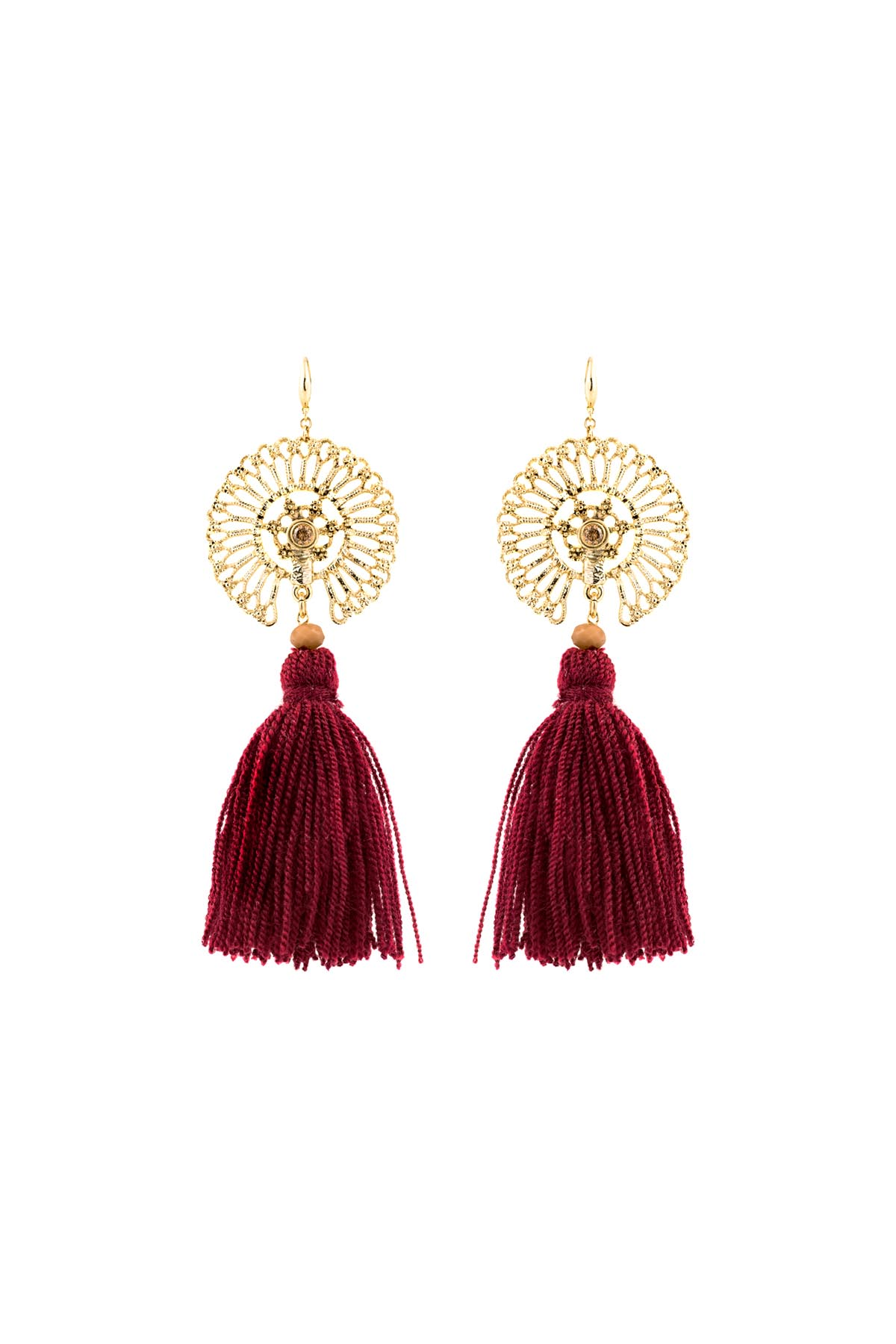 cefb7d4d5 DEEP RED TASSEL - Statement Earrings - Tasseled Dangle Earrings | APP