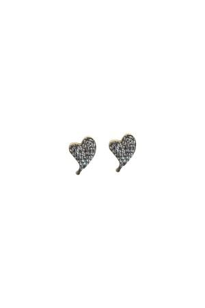 PETITE FAMILY - DIAMOND BEAT - Taşlı Kalp Küpe