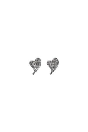 DIAMOND BEAT - Taşlı Kalp Küpe - Thumbnail