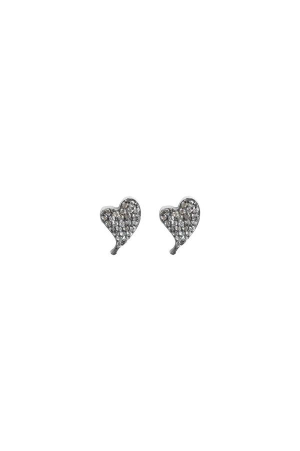 DIAMOND BEAT - Taşlı Kalp Küpe