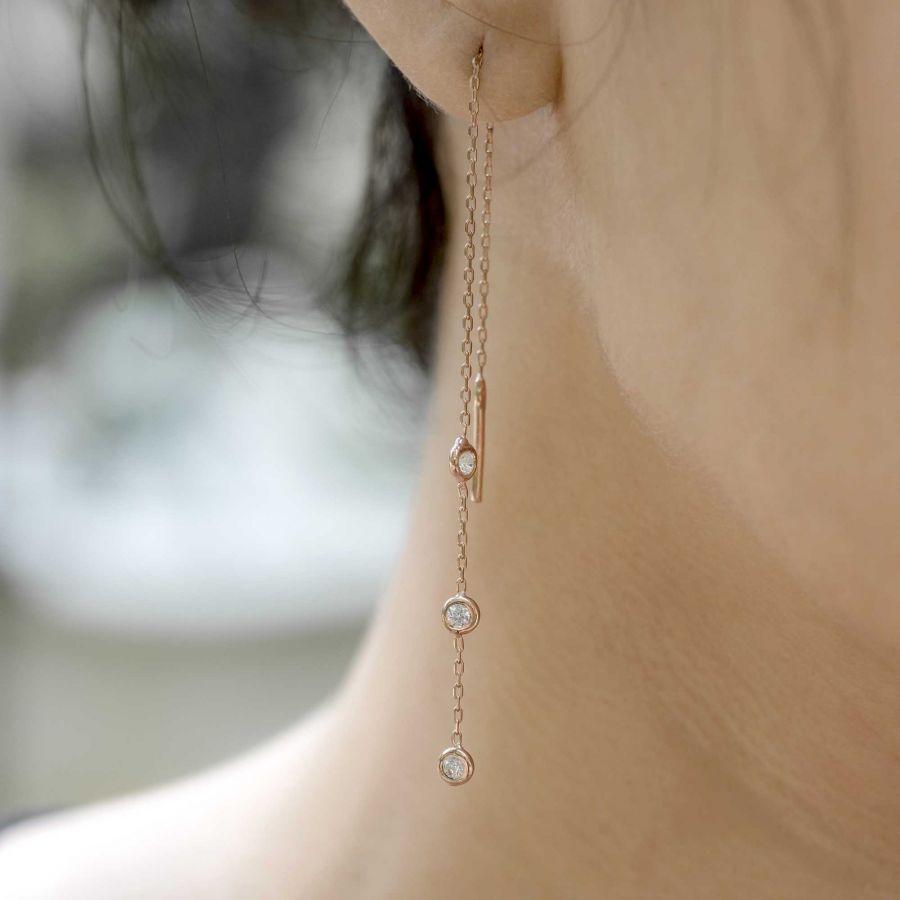 DIAMOND CHAIN - Taşlı Tek Küpe