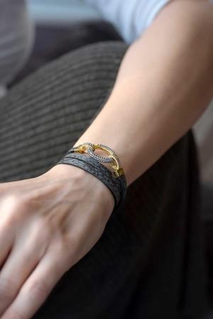DIAMOND LOCK - Zirkon Taşlı Kilitli Bileklik - Thumbnail