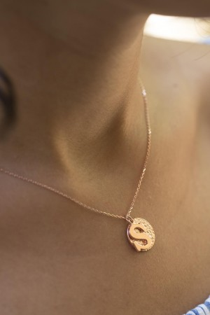 PETITE JEWELRY - DISC LETTER - Customized Initial and Disc Charm Necklace
