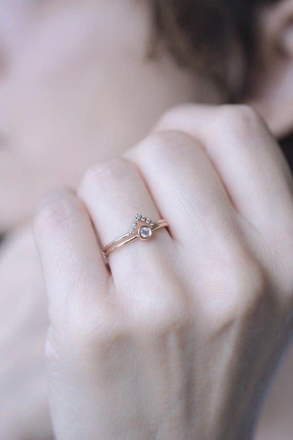 DOUBLE DIAMOND - İkili Gümüş Yüzük Seti