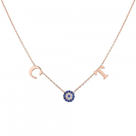 PETITE JEWELRY - DUO LETTER - Two Initials Evil Eye Necklace