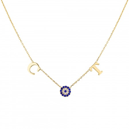 PETITE JEWELRY - DUO LETTER - Two Initials Evil Eye Necklace (1)