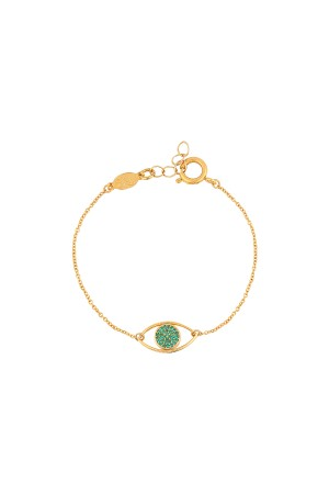 COMFORT ZONE - EMERAULT EYE - Dainty CZ Evil Eye Bracelet