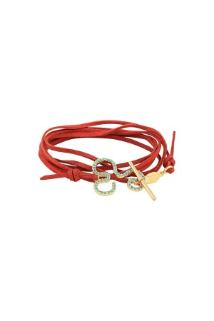 SHOW TIME - FLOW - Red Leather Wrap Bracelet