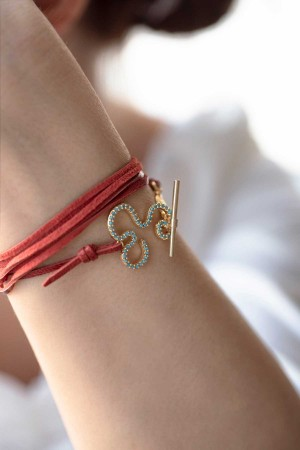 SHOW TIME - FLOW - Red Leather Wrap Bracelet (1)