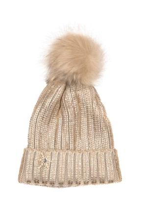HAPPY SEASONS - GOLD SNOW - Metallic Gold Beanie