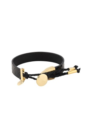 COMFORT ZONE - GOLDEN BUTTON - Leather Bracelet