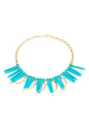 SHOW TIME - GOLDEN CORALS - Turquoise Bib Necklace