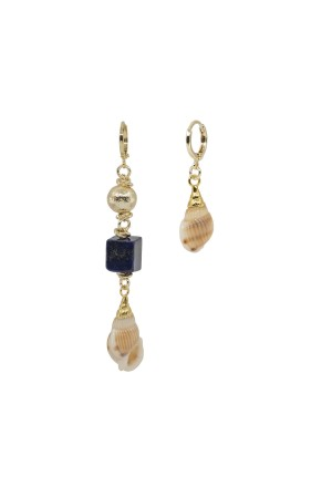 SHOW TIME - GOLDEN NAVY - Seashell Earrings
