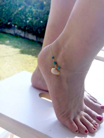 GOLDEN SEA - Electroformed Seashell Anklet - Thumbnail