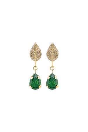 SHOW TIME - GREE LEAF - Rhinestone Earrings