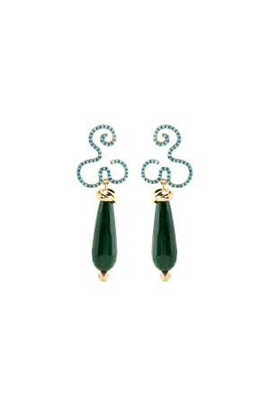 SHOW TIME - GREEN FLOW - Statement Earrings