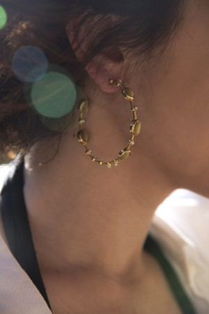 SHOW TIME - GREEN INSPIRATION- Natural Stone Hoop Earrings (1)