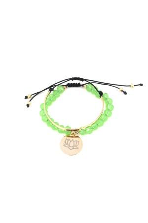 PLAYGROUND - GREEN LOTUS - Stacking Bracelets