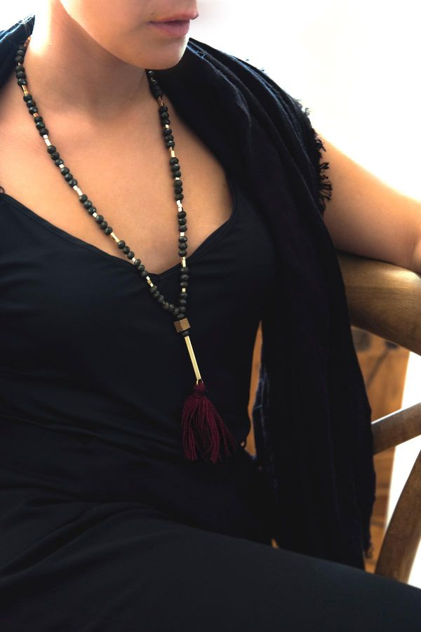 GREEN ROSARY - Tasseled Necklace