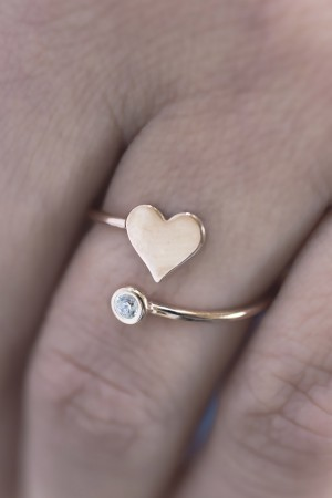 PETITE JEWELRY - HEART DIAMOND - Kalpli Tektaş Yüzük