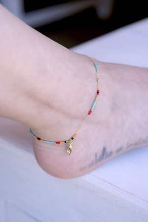 PLAYGROUND - HONOLULU -Dainty Beaded Charm Anklet (1)