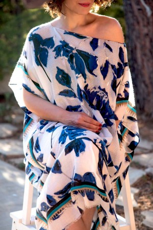HAPPY SEASONS - INDIGO - Gümüş Baskılı Plaj Elbisesi