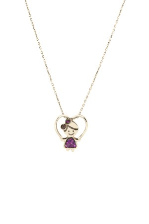PETITE FAMILY - LOLA FUNSHINE - Pink Sapphire Girl Necklace
