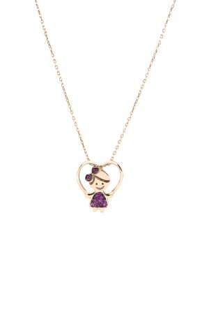 PETITE FAMILY - LOLA FUNSHINE - Pink Sapphire Girl Necklace (1)