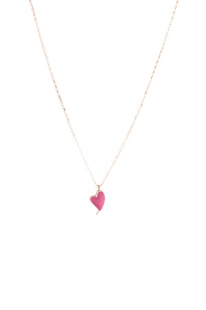 PETITE FAMILY - LOLA HEARTBEAT - Pink Pendant Necklace (1)